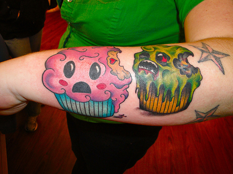 Good evil cup cake tattoo designs