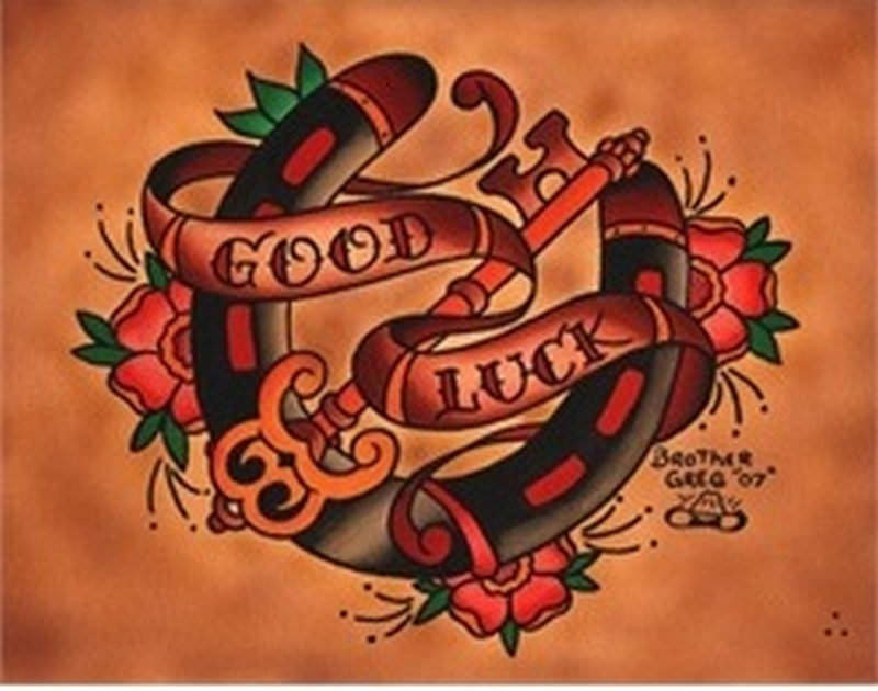 Good luck horseshoe n key tattoo design