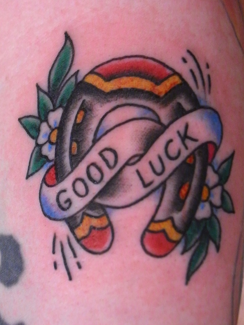 Good luck horseshoe tattoo design