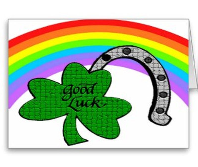 Good luck shamrock rainbow and horseshoe post card tattoo