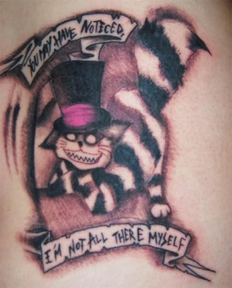 Gothic cheshire cat tattoo design
