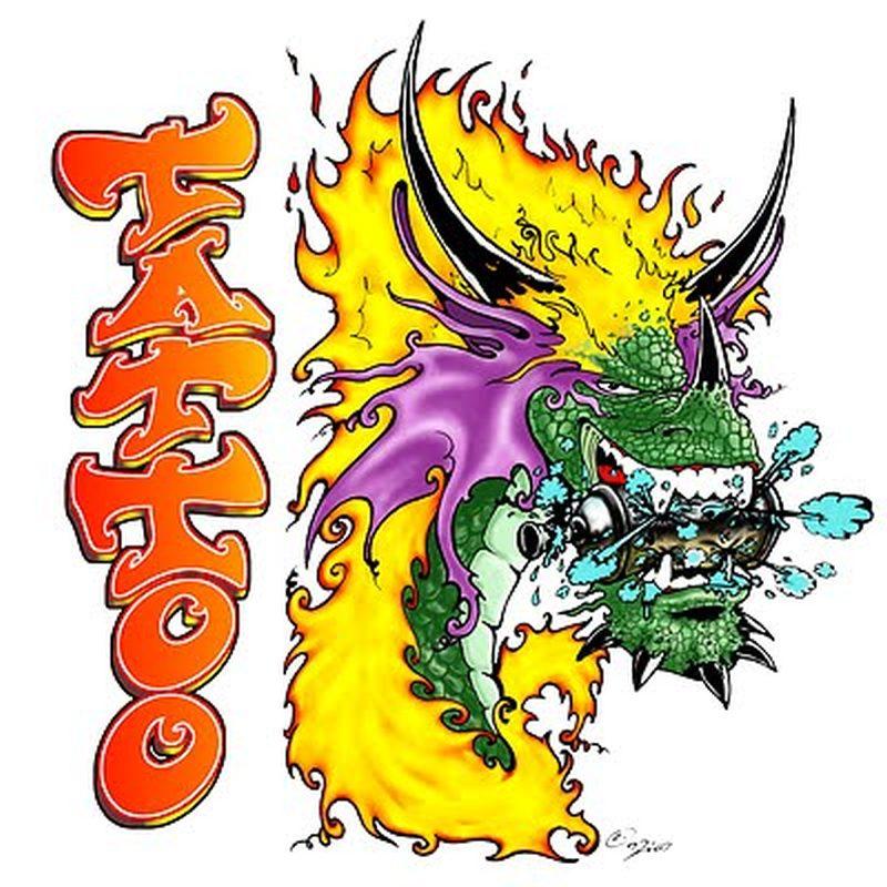 Graffiti character dragon tattoo design