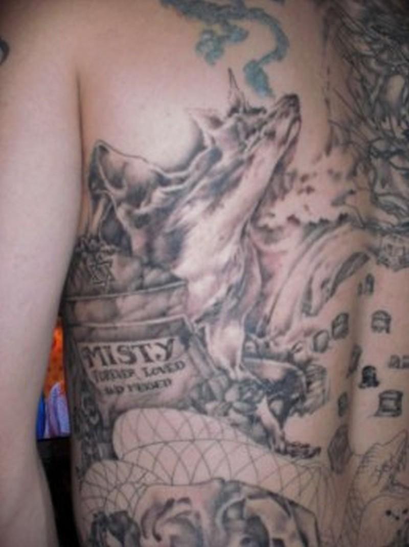 Graveyard back piece tattoo design