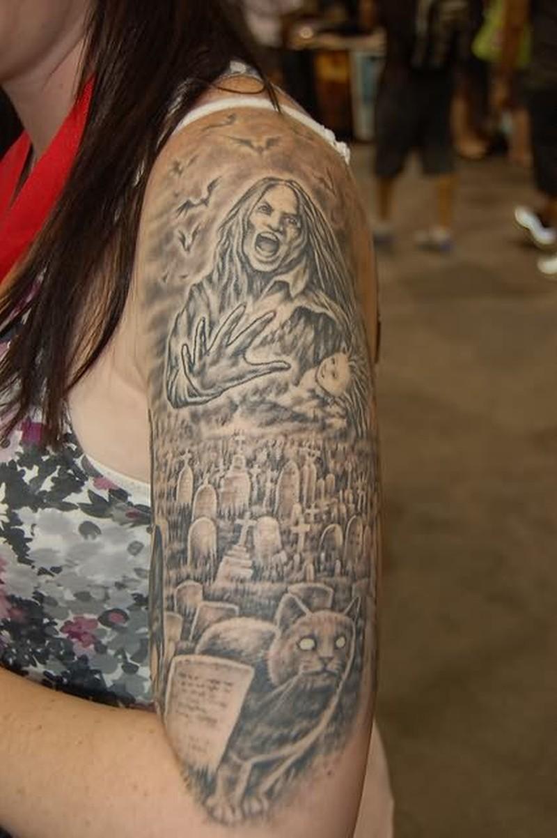 Graveyard for girls on sleeve tattoo