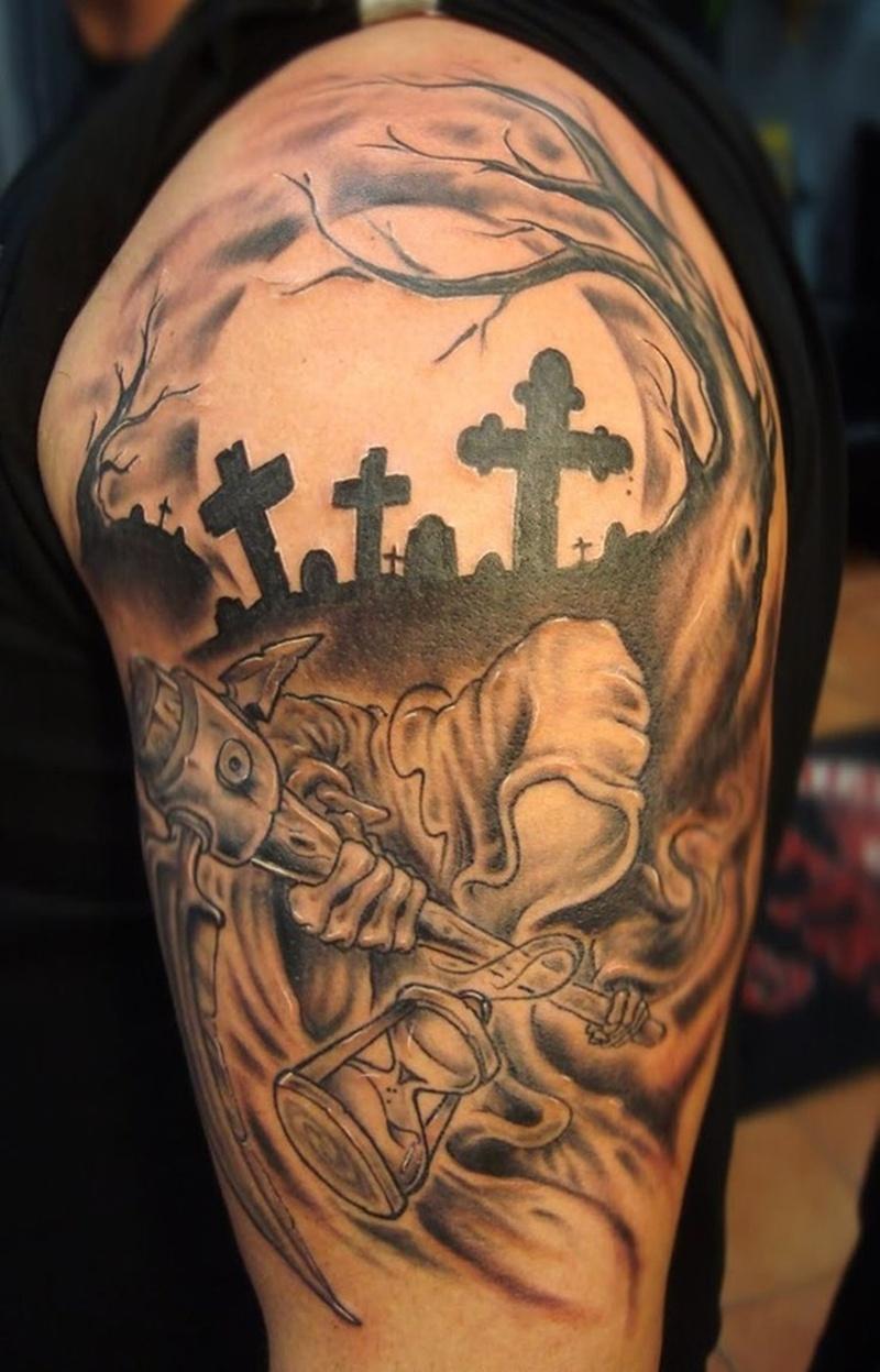 Graveyard n cemetery tattoo design on shoulder