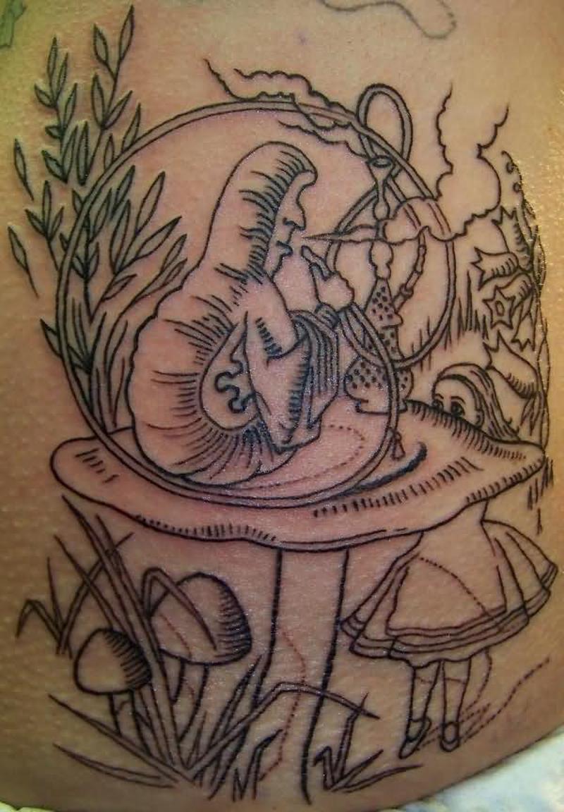 Graveyard outline tattoo design