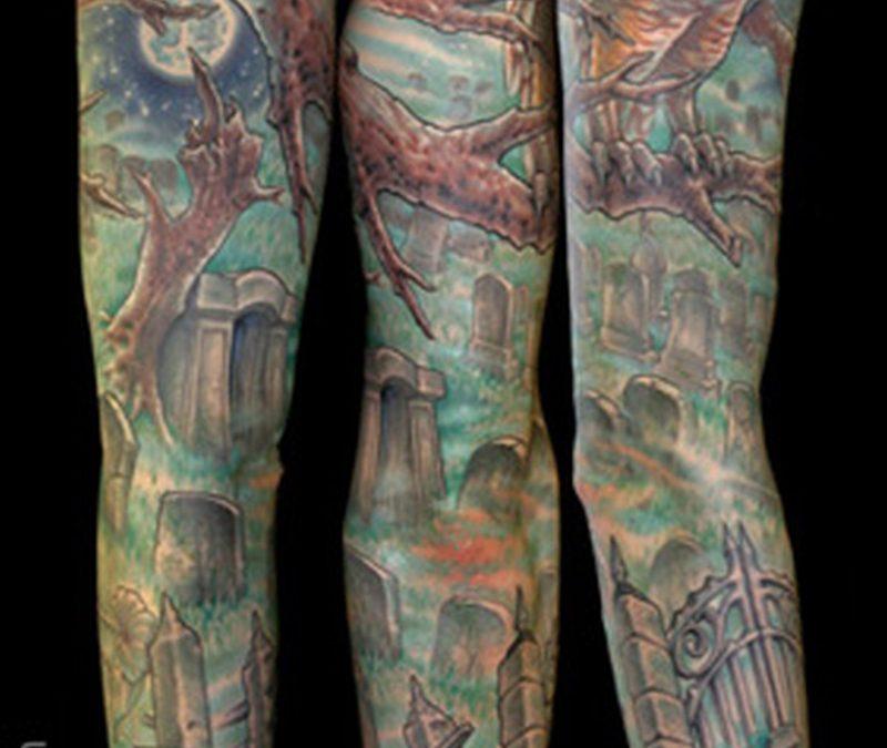 Graveyard sleeve tattoo design