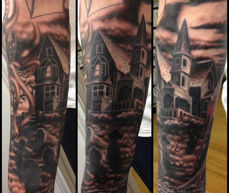 Graveyard sleeve tattoo image