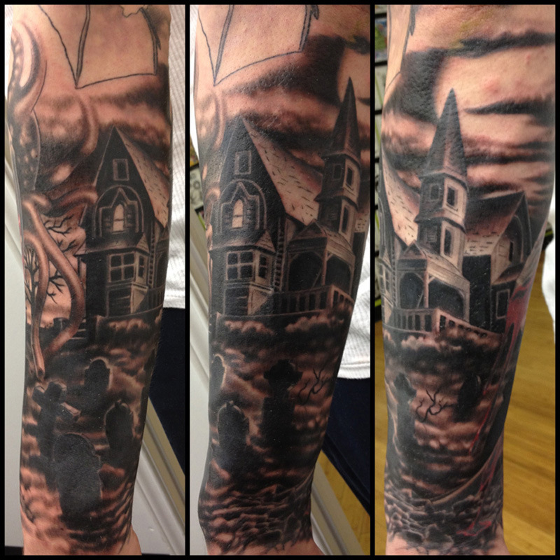 Graveyard sleeve tattoo image