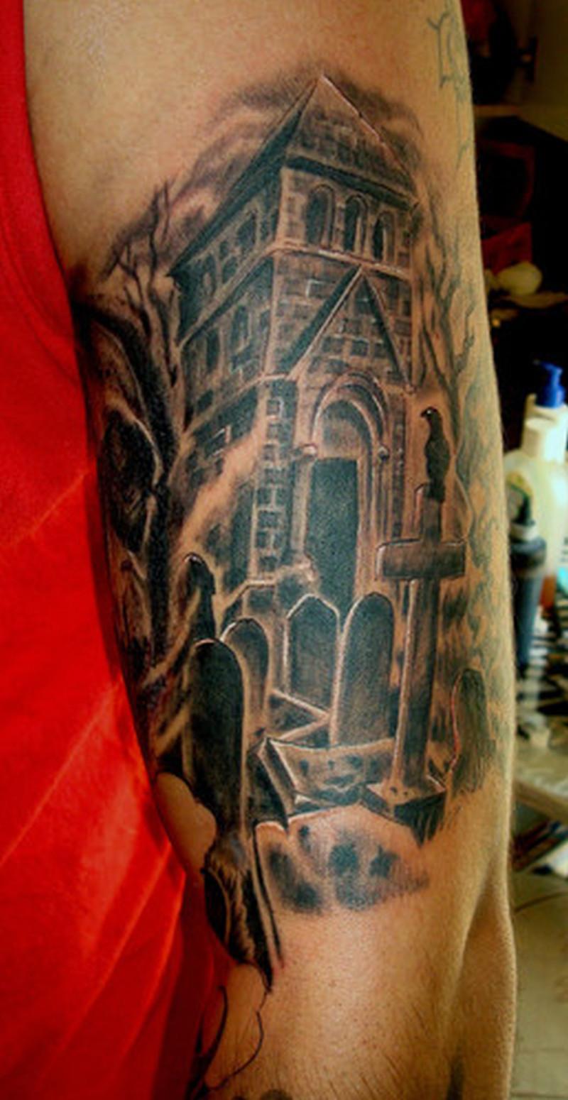 Graveyard tattoo design on the arm 2