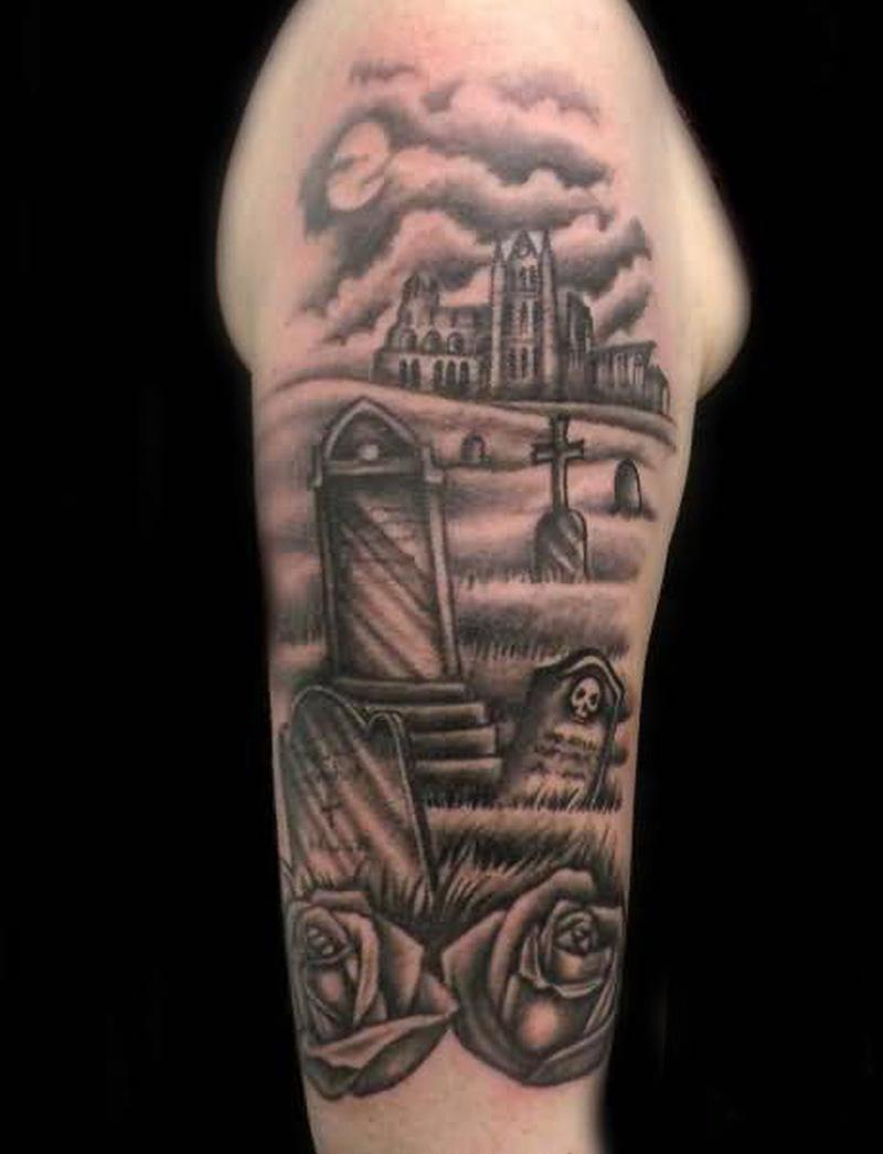 Graveyard tattoo design on the arm 3
