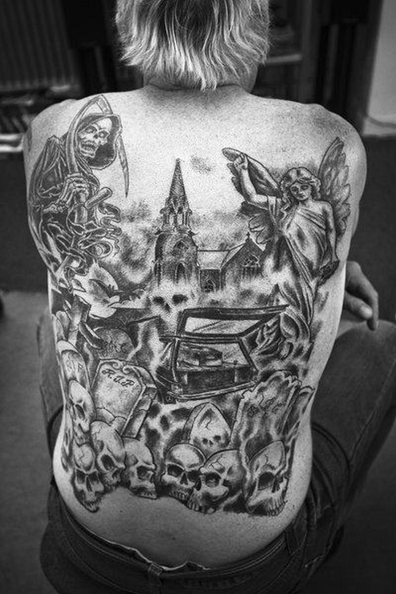 Graveyard tattoo design on the back 2