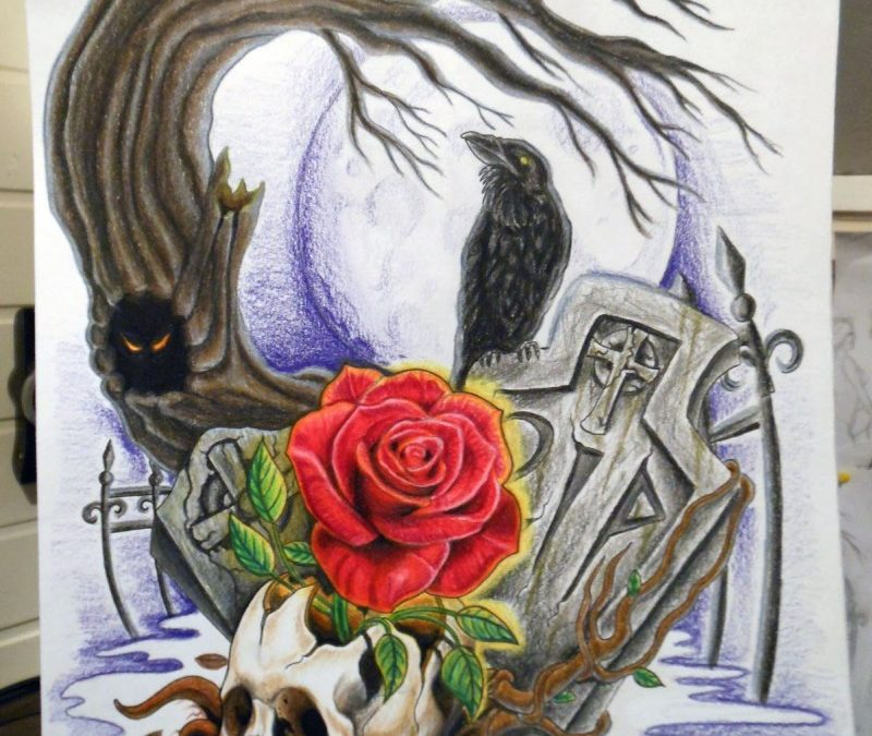 Graveyard tattoo drawing