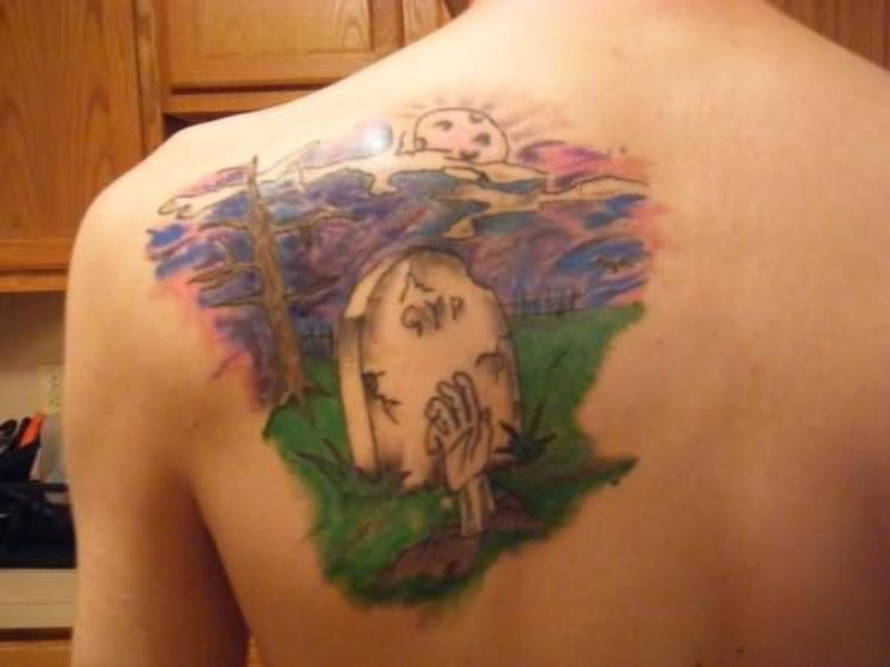 Graveyard tattoo photo on back of shoulder