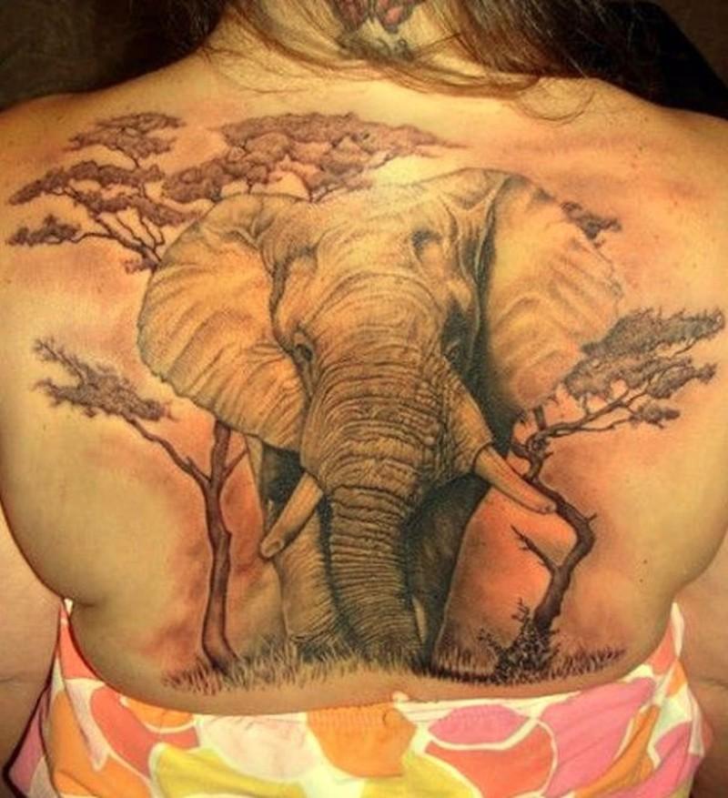 59889431f6d1e Great elephant tattoo on whole back - Tattoos Book - 65.000 Tattoos ...