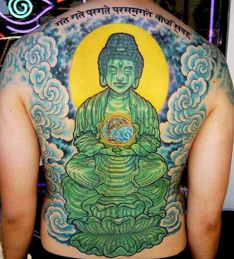 ae76695fd7493 Great green buddha tattoo on whole back - Tattoos Book - 65.000 ...