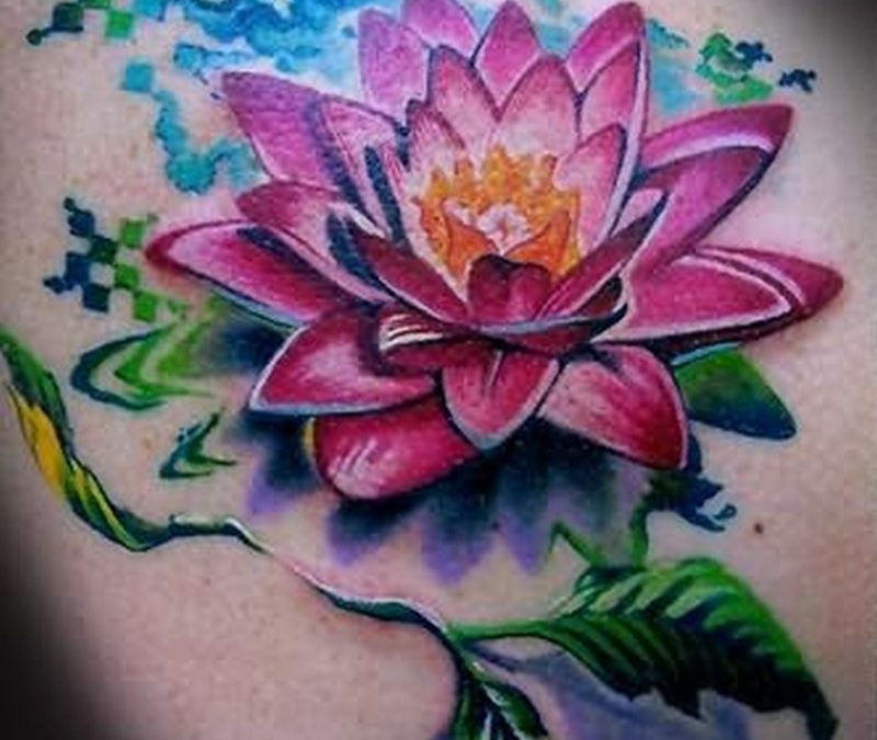 Great lotus flower with patterns tattoo