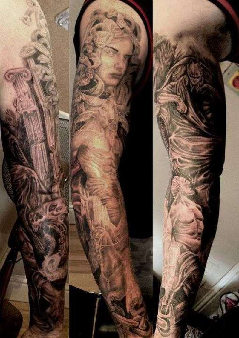 Greek mythology sleeve tattoo design