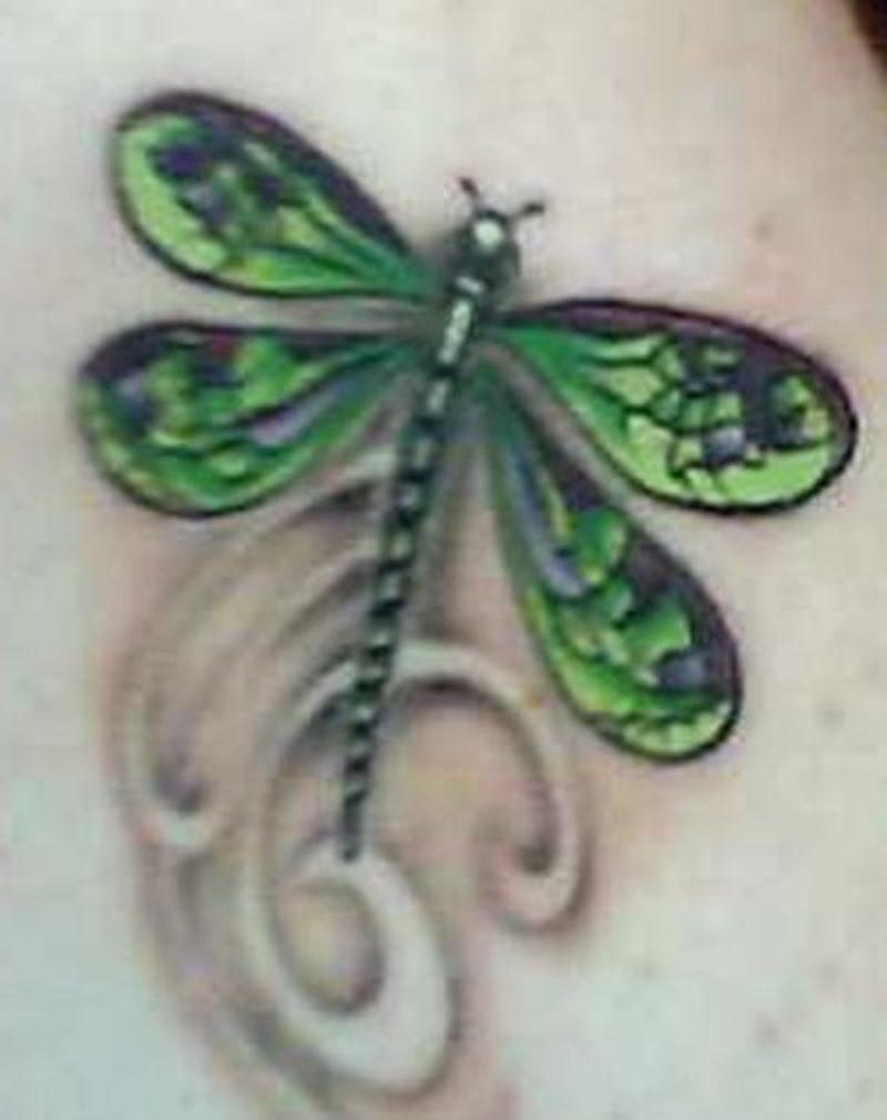 Green dragonfly tattoo