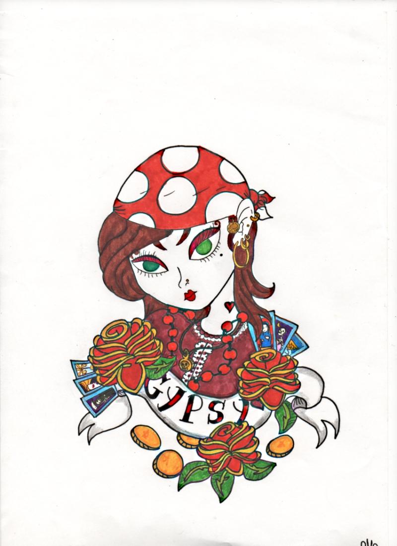 Green eyed gypsy girl tattoo design