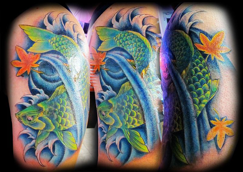 Green fish tattoo design