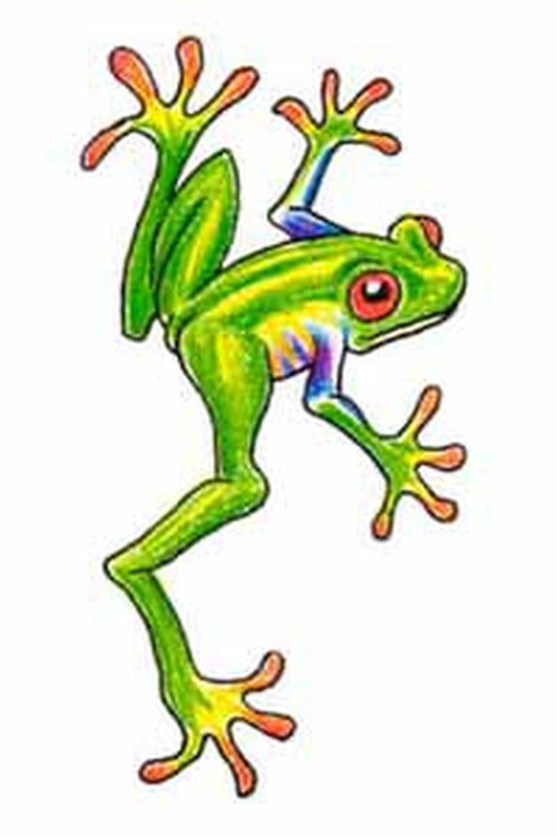 Green frog tattoo sample