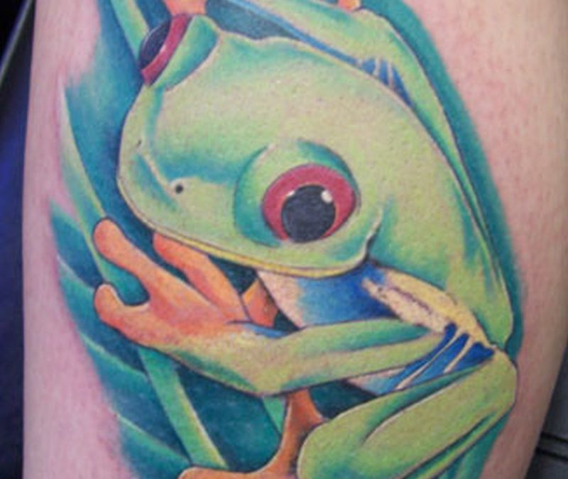 Green ink animated frog tattoo
