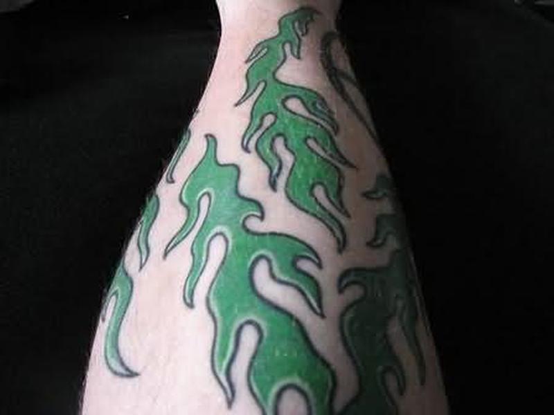 Green ink fire n flame tattoo design