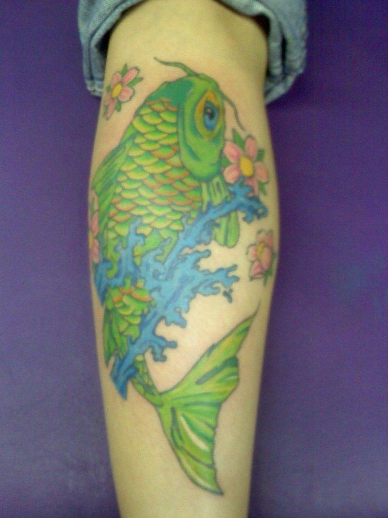 Green koi fish design tattoo tattoos book for Green koi fish