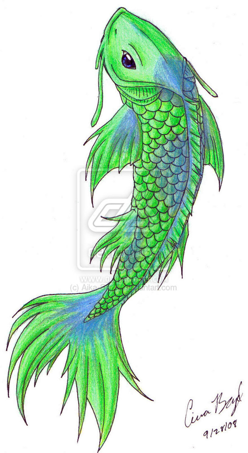 green koi fish tattoo design 2 tattoos book