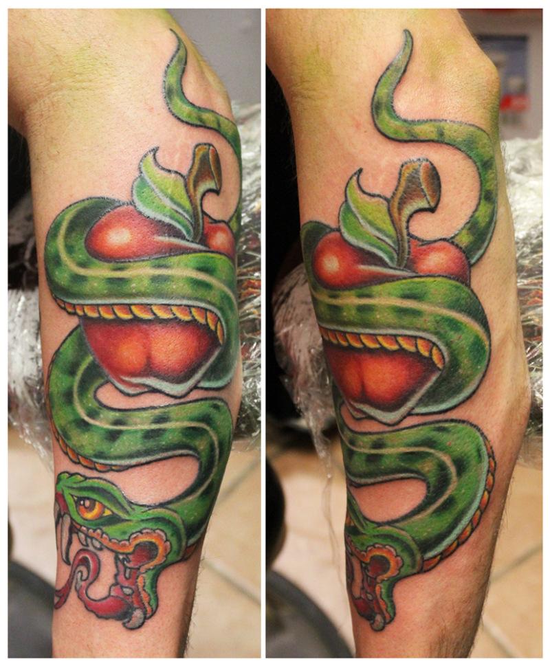 Green snake wrap apple tattoo design