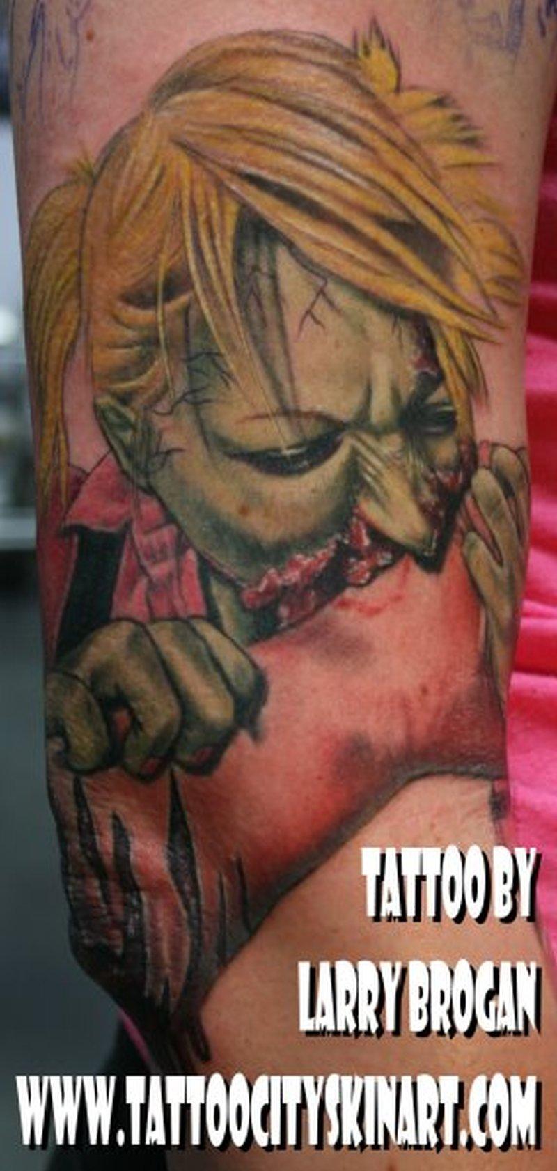 Green zombie eating hand horror tattoo design