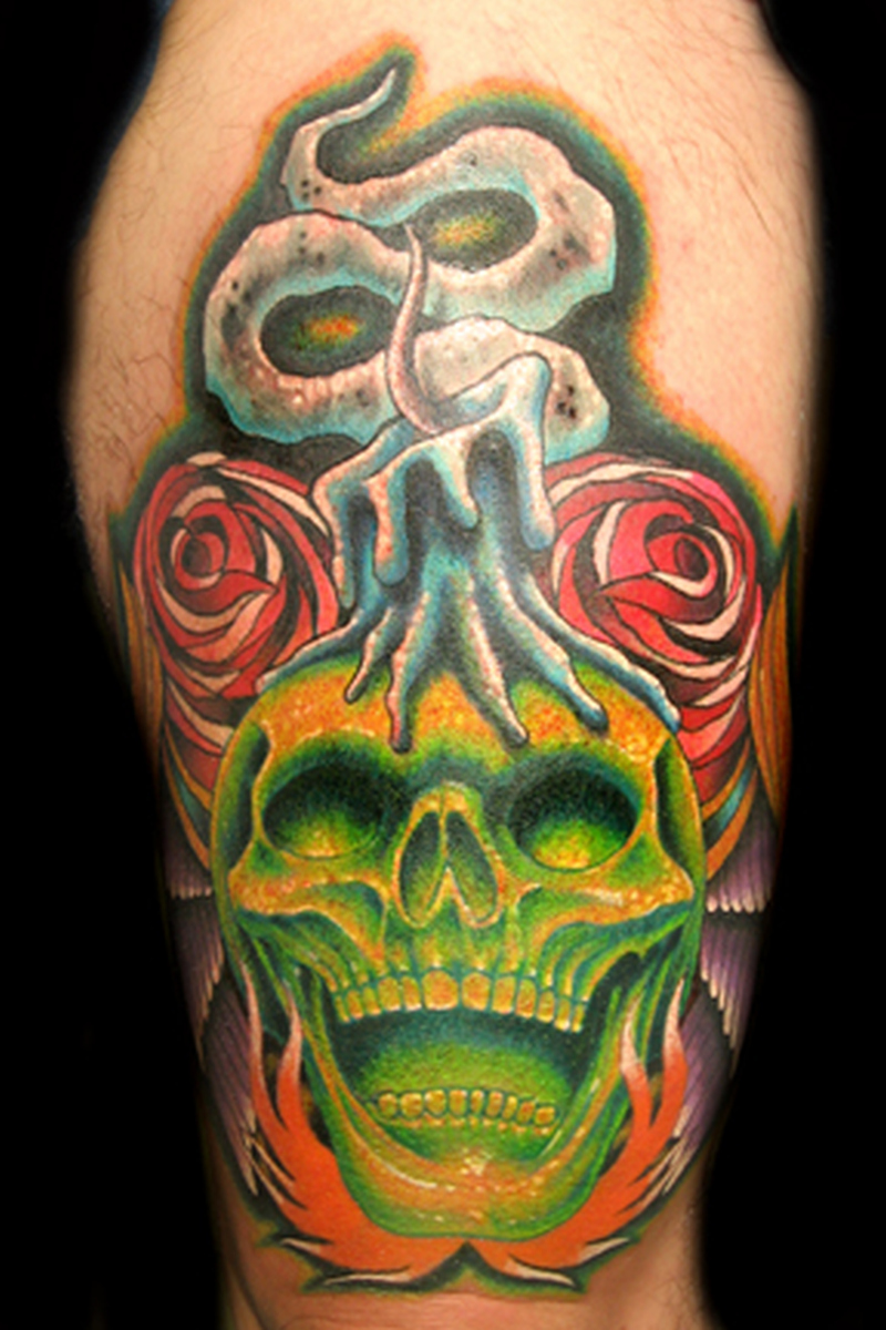 greenish skull with candle tattoo design tattoos book. Black Bedroom Furniture Sets. Home Design Ideas