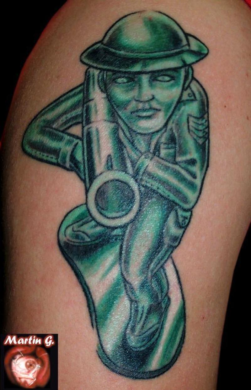 Grey ink army woman tattoo