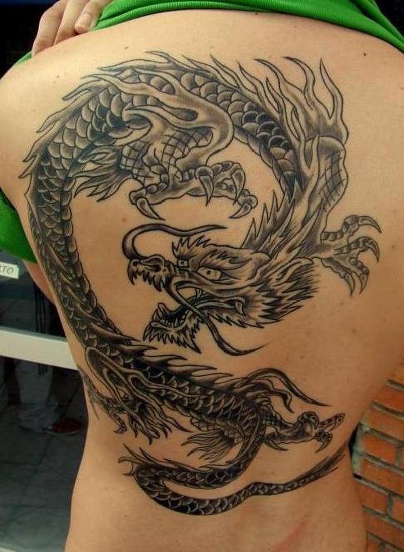 Grey ink big asian dragon tattoo design