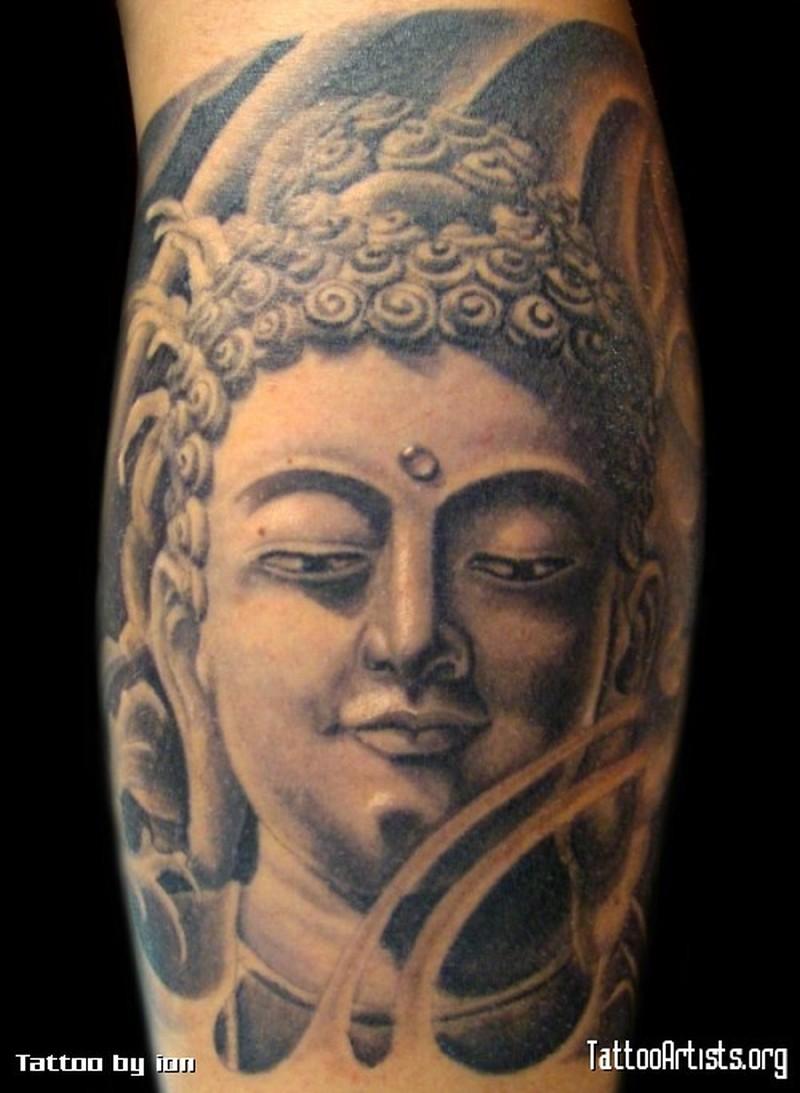 grey ink buddha head tattoo design tattoos book. Black Bedroom Furniture Sets. Home Design Ideas