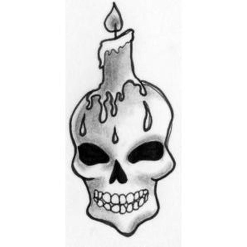 Grey ink candle skull tattoo design