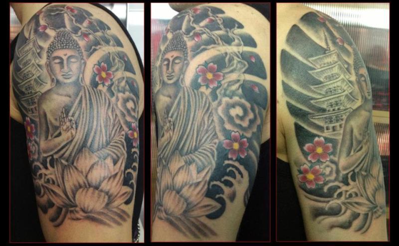 Grey ink religious buddha tattoo design