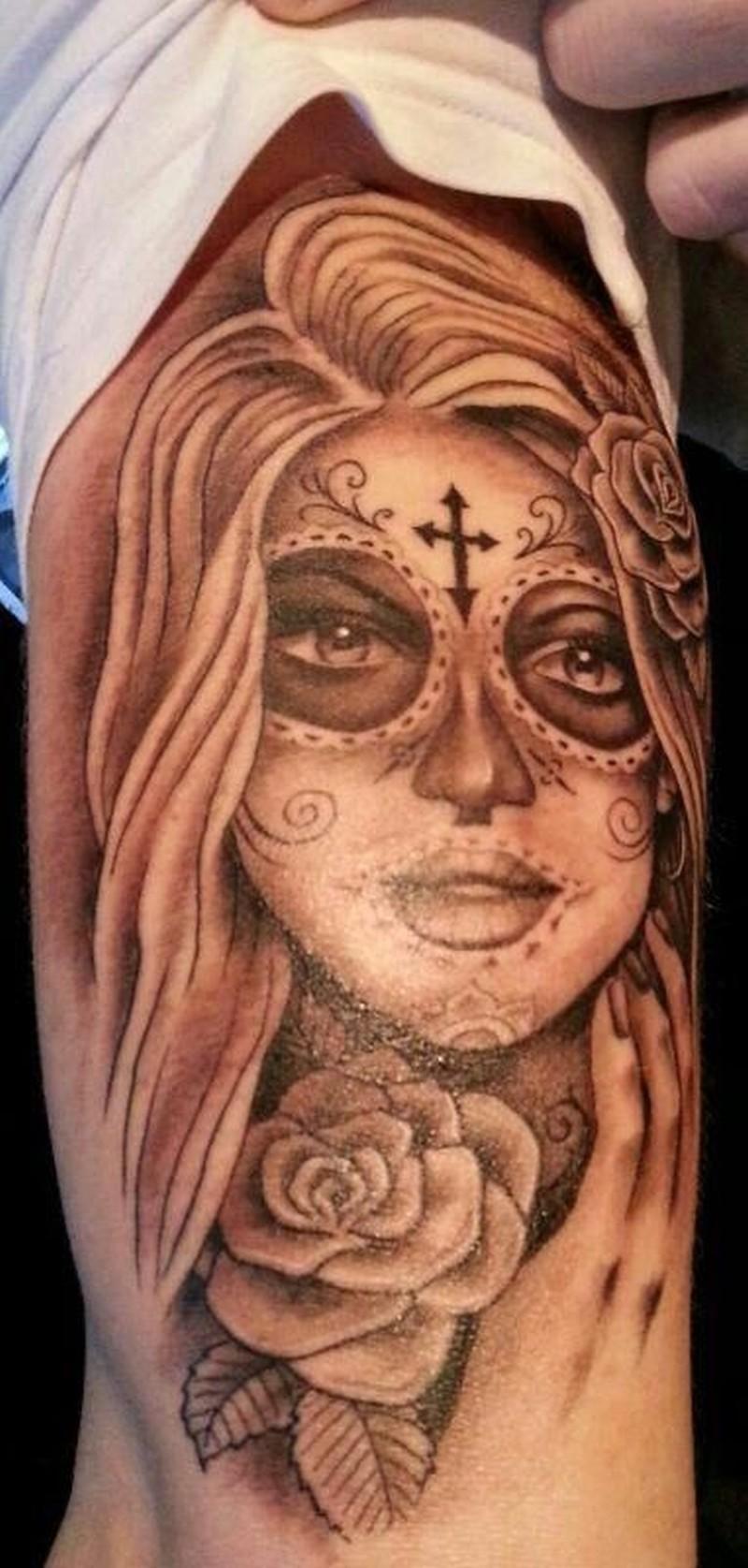 Grey ink santa muerte girl witn rose tattoo - Tattoos Book