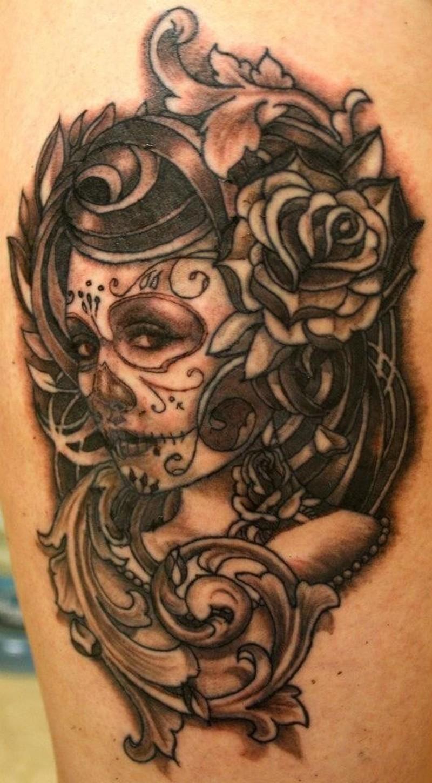 Grey ink santa muerte with patterns tattoo