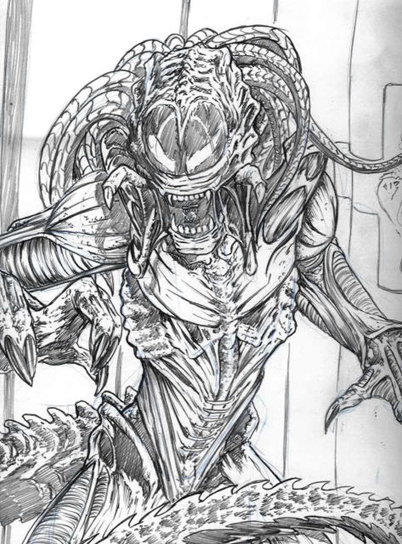 Grey ink scary alien tattoo