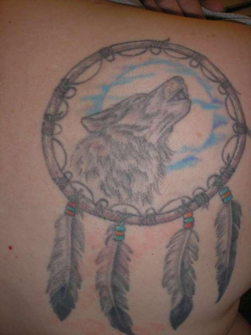 0e33066be Grey ink wolf dream catcher tattoo design - Tattoos Book - 65.000 ...