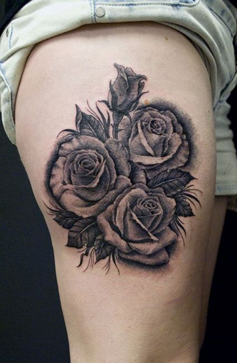 Grey rose tattoo