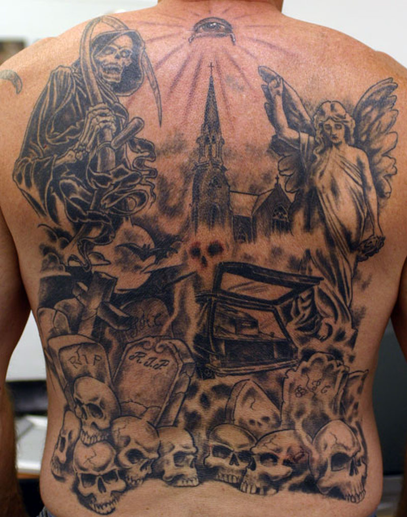 grim reaper angel graveyard tattoo on back body tattoos book tattoos designs. Black Bedroom Furniture Sets. Home Design Ideas