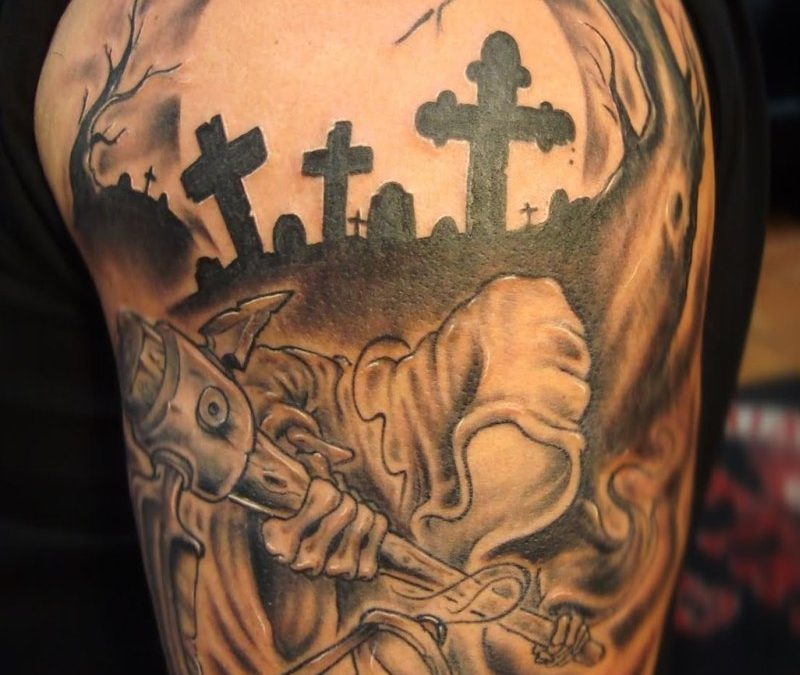 Grim reaper graveyard tattoo on half sleeve