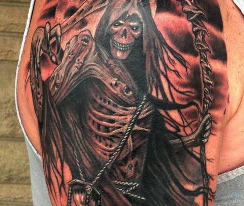 Grim reaper hourglass black n grey tattoo