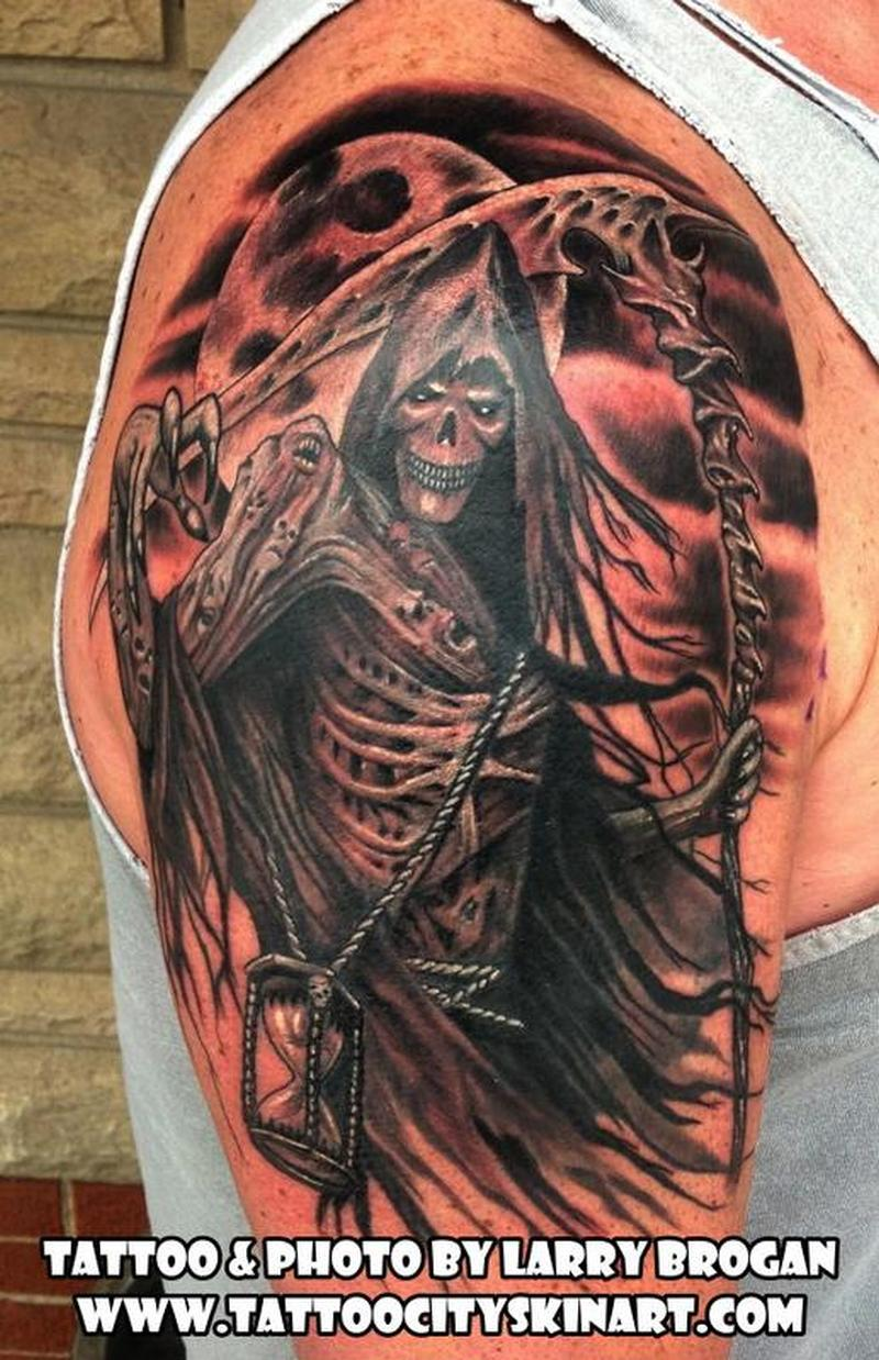 grim reaper hourglass black n grey tattoo tattoos book. Black Bedroom Furniture Sets. Home Design Ideas