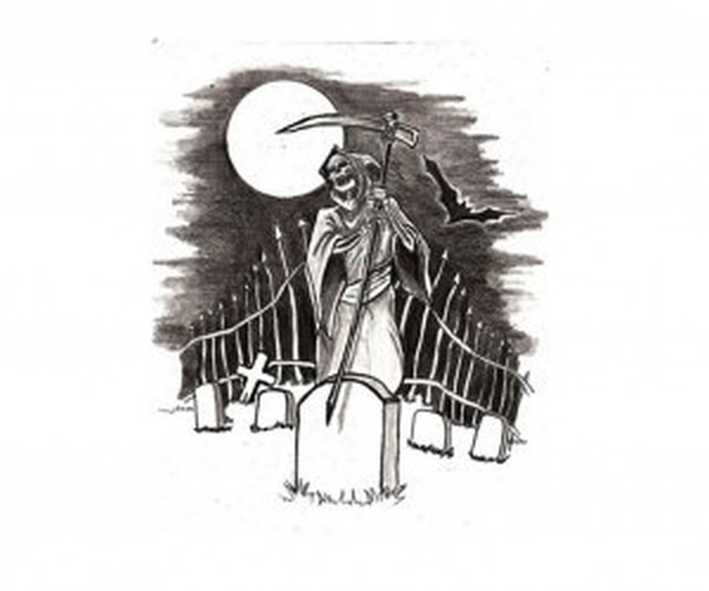 Grim reaper in the graveyard tattoo design