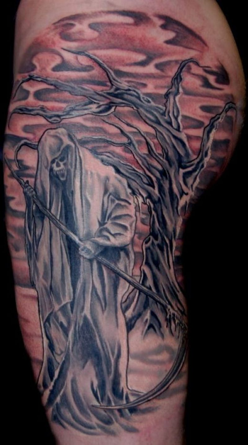 Grim reaper n tree tattoo design