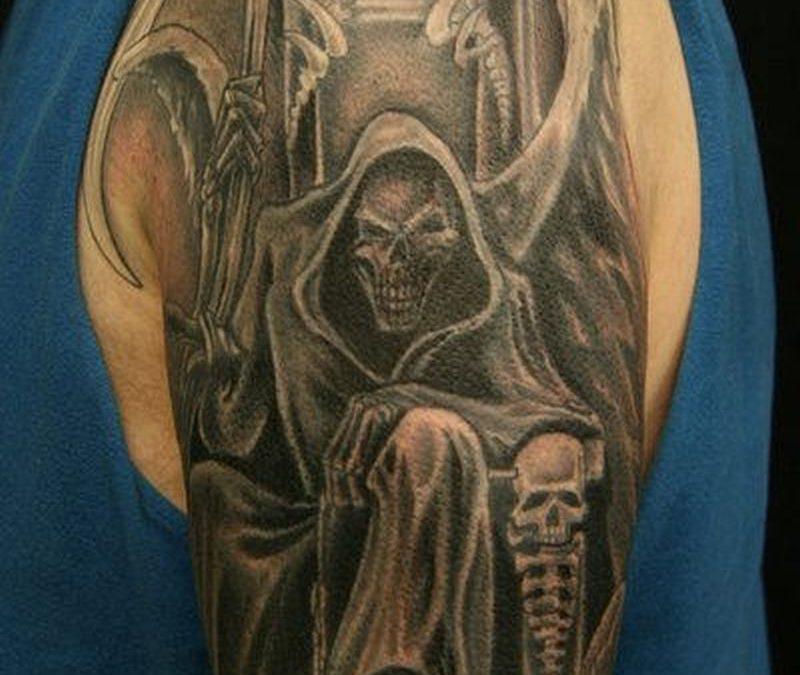 Grim reaper sleeve tattoo design
